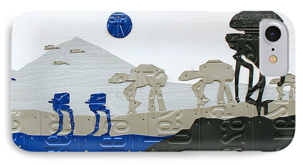 Hoth Star Wars Scene Panorama Made Using Vintage Recycled License Plates On White Wood Plank IPhone Case