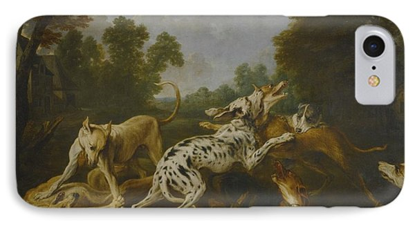 Hounds Fighting In A Village IPhone Case by MotionAge Designs