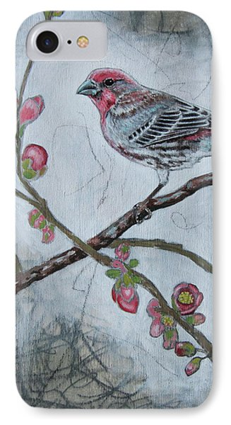 IPhone Case featuring the mixed media House Finch by Sheri Howe