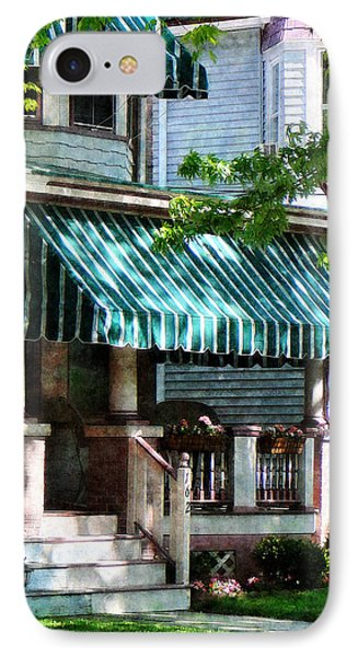 House With Green Striped Awnings Phone Case by Susan Savad