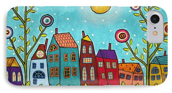 Houses Blooms And A Moon IPhone Case by Karla Gerard