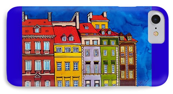 IPhone Case featuring the painting Houses In The Oldtown Of Warsaw by Dora Hathazi Mendes