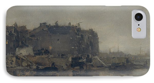 Houses On The Prins Hendrikkade In Amsterdam On A Foggy Day IPhone Case