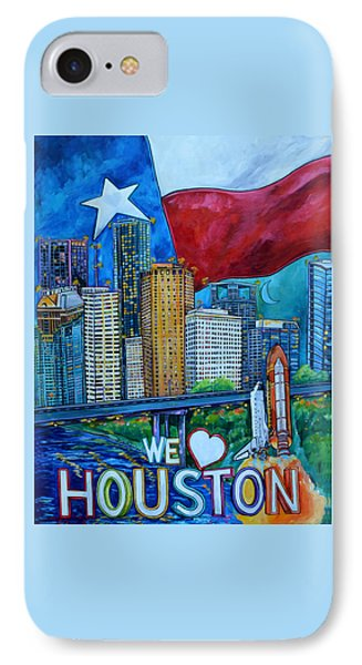 IPhone Case featuring the painting Houston Montage by Patti Schermerhorn