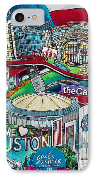 IPhone Case featuring the painting Houston Montage Two by Patti Schermerhorn