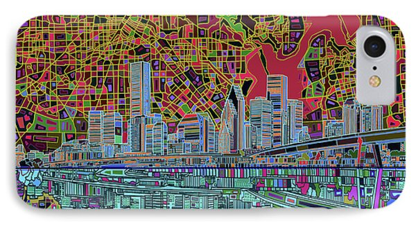 Houston Skyline Abstract 3 IPhone Case by Bekim Art