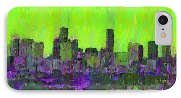 Houston Skyline Night 53 - Da IPhone Case by Leonardo Digenio
