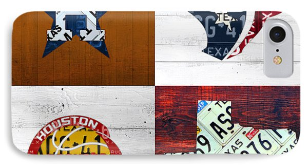 Houston Sports Fan Recycled Vintage Texas License Plate Art Astros Texans Rockets And State Map IPhone Case by Design Turnpike