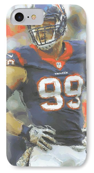 Houston Texans Jj Watt 2 IPhone Case by Joe Hamilton