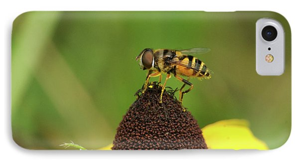 Hoverfly On Brown Eyed Susan Phone Case by Michael Peychich