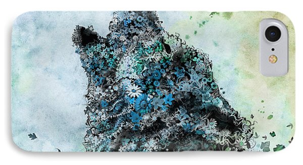 Howling Wolf Floral 3 IPhone Case by Bekim Art