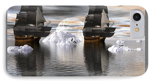 IPhone Case featuring the digital art Hudson Bay Ships by Claude McCoy