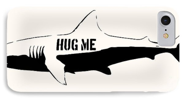 Hug Me Shark - Black  IPhone Case by Pixel  Chimp