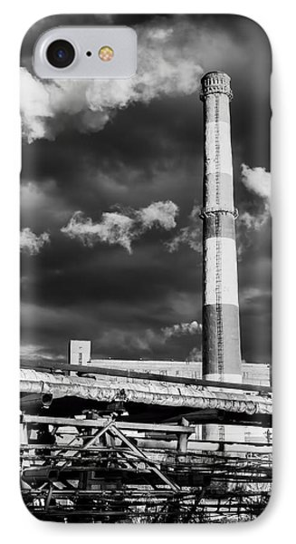 Huge Industrial Chimney And Smoke In Black And White IPhone Case by John Williams