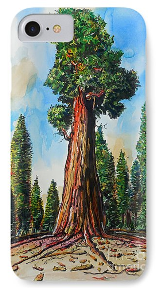 IPhone Case featuring the painting Huge Redwood Tree by Terry Banderas