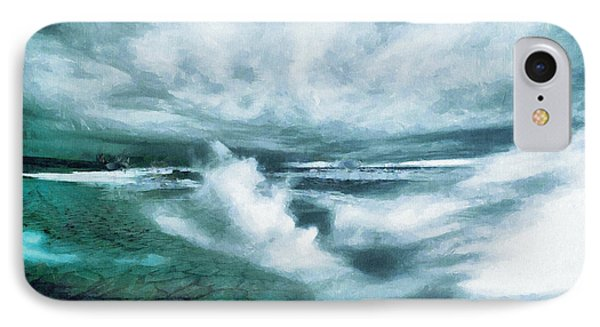 Huge Waves And Stormy Sea Art Painting IPhone Case by Wall Art Prints