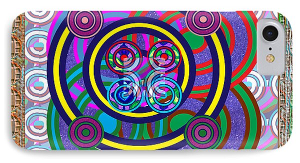 Hula Hoop Circles Tubes Girls Games Abstract Colorful Wallart Interior Decorations Artwork By Navinj IPhone Case by Navin Joshi