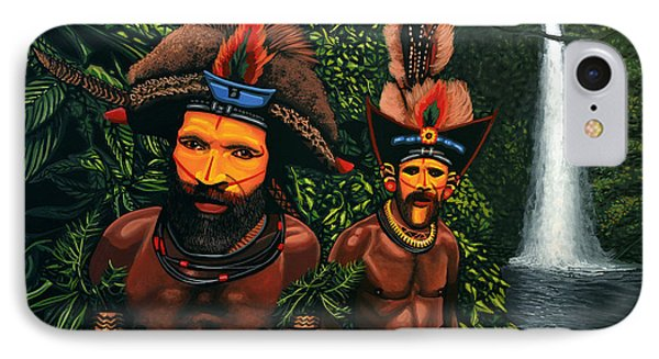Huli Men In The Jungle Of Papua New Guinea IPhone Case by Paul Meijering