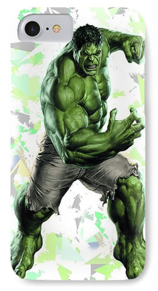 IPhone Case featuring the mixed media Hulk Splash Super Hero Series by Movie Poster Prints