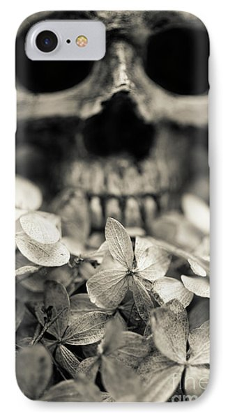 IPhone Case featuring the photograph Human Skull Among Flowers by Edward Fielding