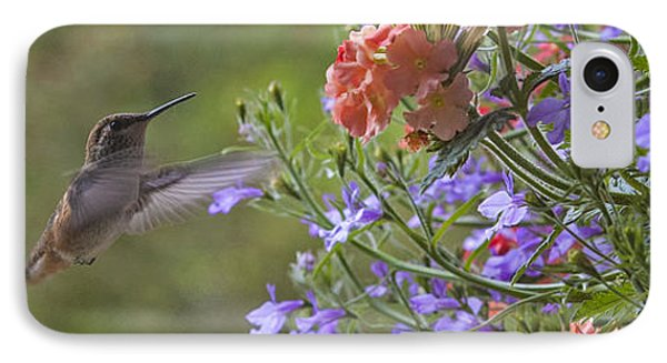 Hummer With Peach Geranium IPhone Case