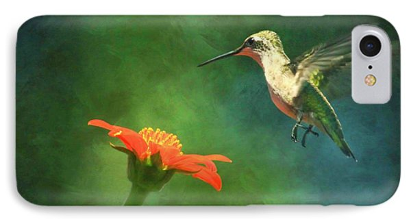 Humming Bird And Zinnia With Textures Series IPhone Case