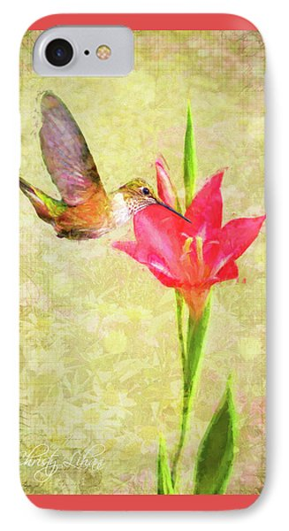 IPhone Case featuring the digital art Hummingbird And Flower by Christina Lihani