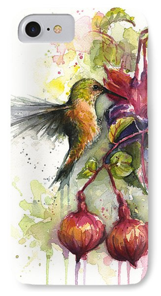 Hummingbird And Fuchsia IPhone 7 Case by Olga Shvartsur