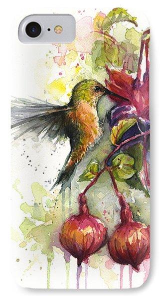 Hummingbird And Fuchsia IPhone Case by Olga Shvartsur