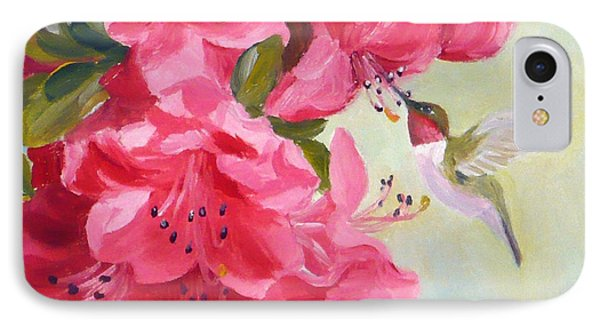Hummingbird And Pink Azaleas IPhone Case by Janet  Zeh