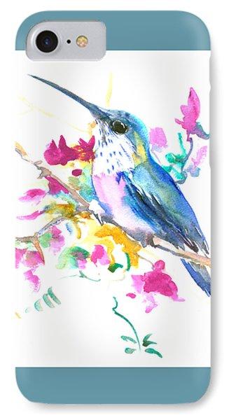 Hummingbird And Pink Purple Flowers Painting By Suren