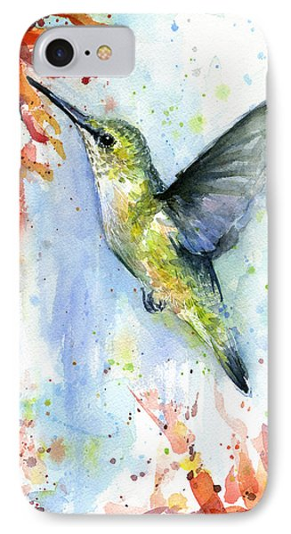 Hummingbird And Red Flower Watercolor IPhone 7 Case by Olga Shvartsur
