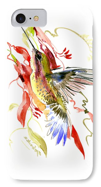 Hummingbird And Tropical Plants IPhone Case by Suren Nersisyan