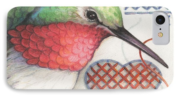 Hummingbird Handiwork Phone Case by Amy S Turner