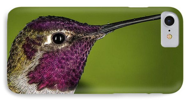 IPhone Case featuring the photograph Hummingbird Head Shot With Raindrops by William Lee