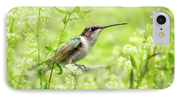 Hummingbird Hiding In Flowers Phone Case by Christina Rollo