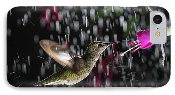 IPhone Case featuring the photograph Hummingbird Hovering In Rain With Splash by William Lee