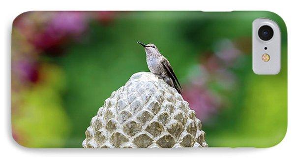 Hummingbird On Garden Water Fountain Phone Case by David Gn