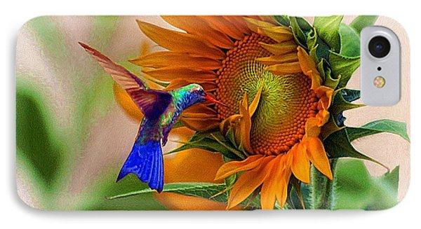 Hummingbird On Sunflower IPhone Case by John  Kolenberg