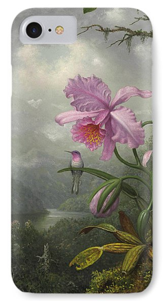 Hummingbird Perched On The Orchid Plant IPhone Case by Martin Johnson Heade
