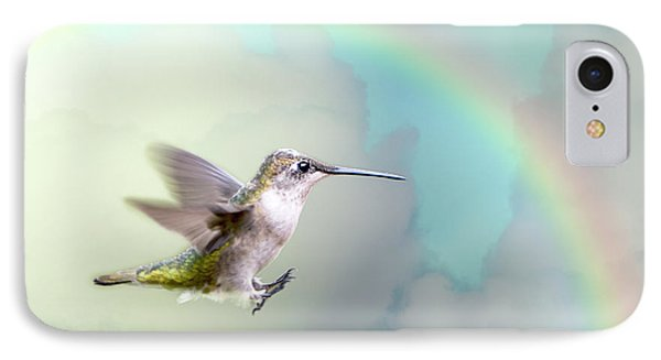 IPhone Case featuring the photograph Hummingbird Under Rainbow by Bonnie Barry
