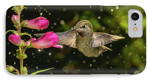 IPhone Case featuring the photograph Hummingbird Visits Flowers In Raining Day by William Lee
