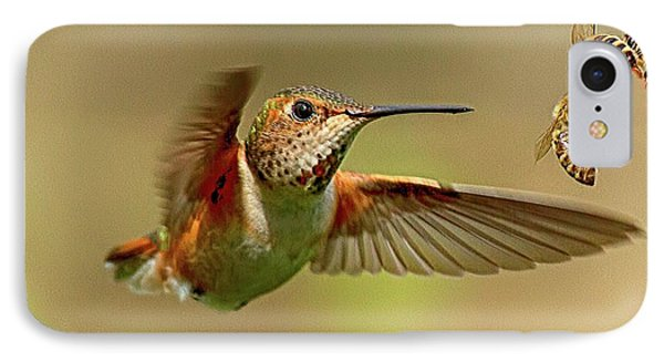 Hummingbird Vs. Bees IPhone Case by Sheldon Bilsker