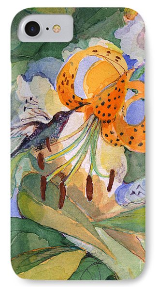 IPhone Case featuring the painting Hummingbird With Flowers by Nancy Watson