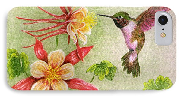 IPhone Case featuring the painting Hummingbird's Delight by Judy Filarecki