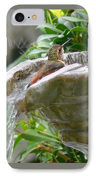 Hummingbirds Do Take Baths IPhone Case by Jennie Marie Schell
