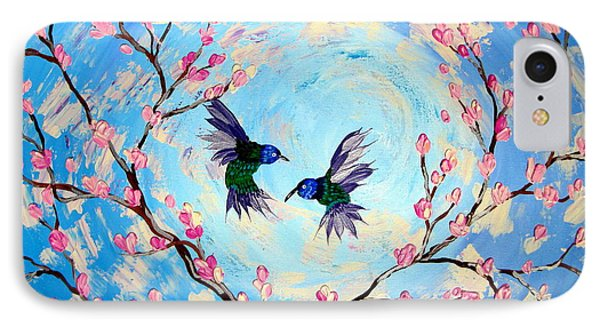 Hummingbirds In Cherry Blossom IPhone Case by Cathy Jacobs