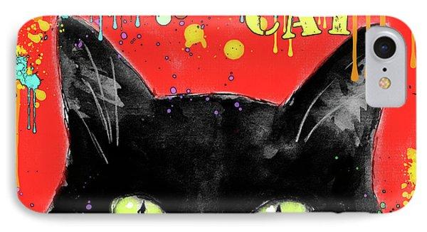 humorous Black cat painting IPhone Case by Svetlana Novikova
