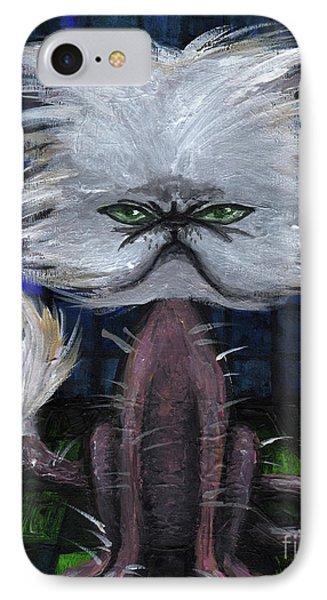 Humorous Cat IPhone Case by Akiko Okabe