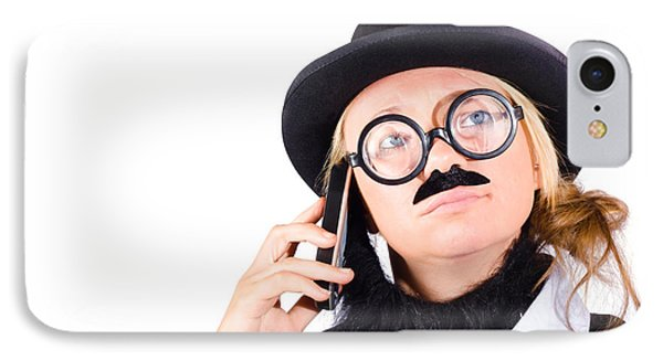 Humorous Worker With Mobile Phone IPhone Case by Jorgo Photography - Wall Art Gallery